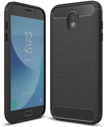 Samsung Galaxy J7 (2017) Geborsteld TPU Hoesje Zwart Hoesjes