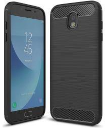 Samsung Galaxy J5 (2017) Geborsteld TPU Hoesje Zwart