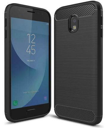 Samsung Galaxy J3 2017 Geborsteld TPU Hoesje Zwart