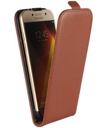 Echt Leren Verticale Samsung Galaxy A5 (2017) Flip Hoesje Bruin