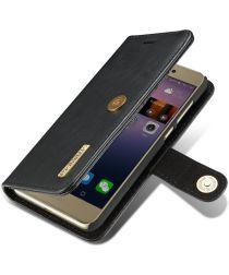 Huawei P8 Lite (2017) Echt Leren Portemonnee Hoesje Zwart