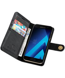 Samsung Galaxy A3 (2017) Echt Leren Portemonnee Hoesje Zwart