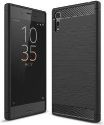 Sony Xperia XZ Geborsteld TPU Hoesje Zwart