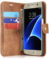Samsung Galaxy S7 Echt Leren Portemonnee Hoesje Bruin