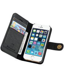 Apple iPhone SE / 5S / 5 Echt Leren Portemonnee Hoesje Zwart
