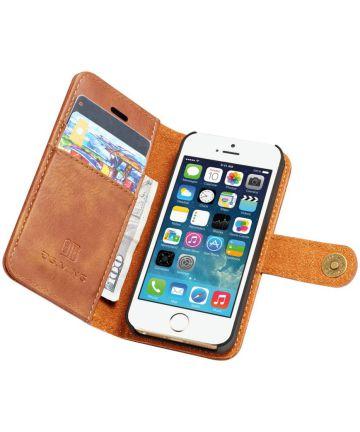 DG Ming Apple iPhone SE / 5S / 5 Echt Leren Portemonnee Hoesje Bruin Hoesjes
