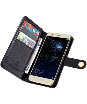 Huawei P10 Plus Echt Leren Portemonnee Hoesje Zwart