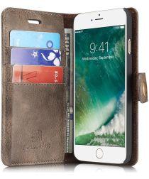 Apple iPhone 7 / 8 Portemonnee Hoesje Echt Leer Coffee