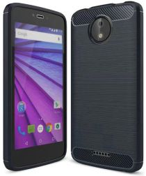 Motorola Moto C Plus Geborsteld TPU Hoesje Blauw