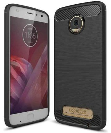 Motorola Moto Z2 Play Geborsteld TPU Hoesje Zwart