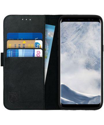 Rosso Deluxe Samsung Galaxy S8 Hoesje Echt Leer Pasjes Book Case Zwart