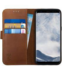 Rosso Deluxe Samsung Galaxy S8 Hoesje Echt Leer Pasjes Book Case Bruin