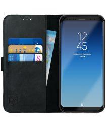 Rosso Deluxe Samsung Galaxy S8 Plus Hoesje Echt Leer Book Case Zwart
