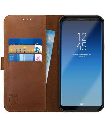 Rosso Deluxe Samsung Galaxy S8 Plus Hoesje Echt Leer Book Case Bruin Hoesjes
