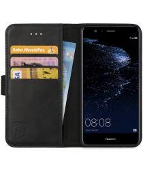 Rosso Deluxe Huawei P10 Lite Hoesje Echt Leer Pasjes Book Case Zwart