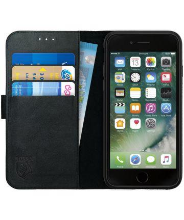 Rosso Deluxe Apple iPhone 7/8 Hoesje Echt Leer Pasjes Book Case Zwart Hoesjes