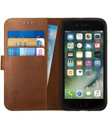 Rosso Deluxe Apple iPhone 7/8 Hoesje Echt Leer Pasjes Book Case Bruin