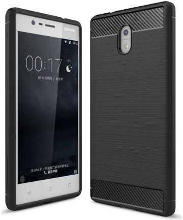 Nokia 3 Geborsteld TPU Hoesje Zwart Hoesjes