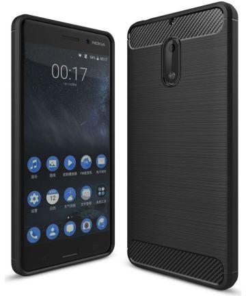 Nokia 6 Geborsteld TPU Hoesje Zwart Hoesjes