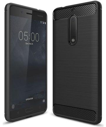 Nokia 5 Geborsteld TPU Hoesje Zwart Hoesjes