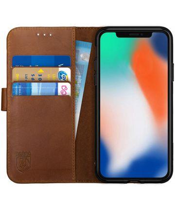 Rosso Deluxe Apple iPhone X / XS Hoesje Echt Leer Book Case Bruin Hoesjes