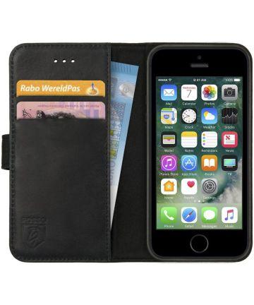 Rosso Deluxe Apple iPhone 5/5S/SE Hoesje Echt Leer Book Case Zwart Hoesjes