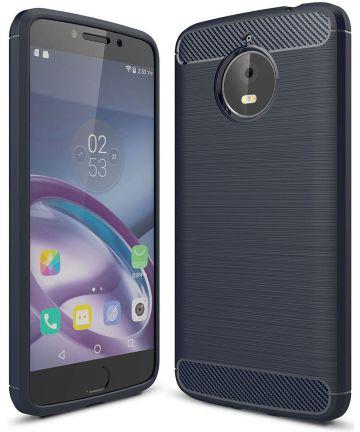 Motorola Moto E4 Plus Geborsteld TPU Hoesje Blauw