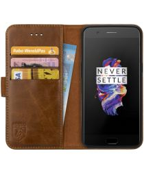 Rosso Deluxe OnePlus 5 Hoesje Echt Leer Pasjes Book Case Bruin