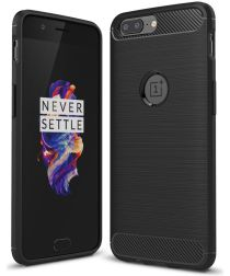 OnePlus 5 Hoesje Geborsteld TPU Zwart