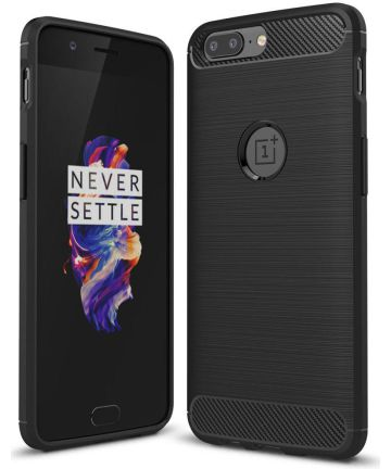 OnePlus 5 Geborsteld TPU Hoesje Zwart Hoesjes
