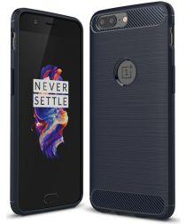 OnePlus 5 Hoesje Geborsteld TPU Blauw