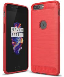 OnePlus 5 Hoesje Geborsteld TPU Rood