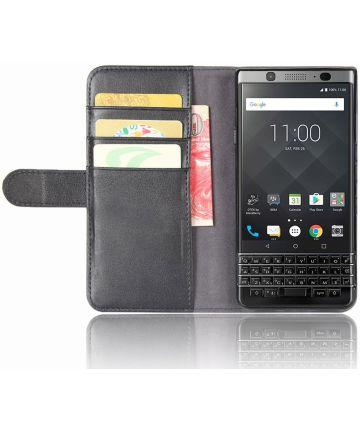 Echt Leren BlackBerry Keyone Hoesje Zwart