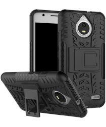 Robuuste Hybride Hoesje Motorola Moto E4 Zwart