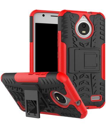 Robuuste Hybride Hoesje Motorola Moto E4 Rood