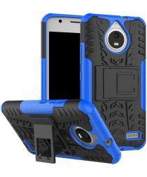 Robuuste Hybride Hoesje Motorola Moto E4 Blauw
