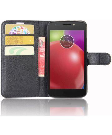 Motorola Moto E4 Portemonnee Hoesje Zwart