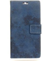 Motorola Moto E4 Retro Portemonnee Hoesje Blauw