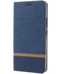 Motorola Moto E4 Plus Linnen Portemonnee Hoesje Blauw