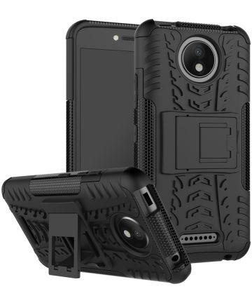 Robuust Hybride Motorola Moto C Plus Hoesje Zwart Hoesjes