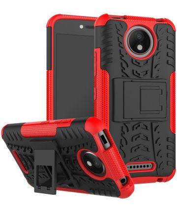 Robuust Hybride Motorola Moto C Plus Hoesje Rood