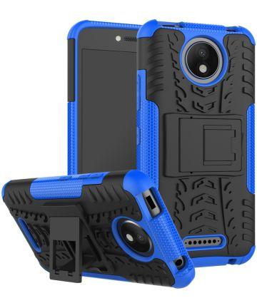 Robuust Hybride Motorola Moto C Plus Hoesje Blauw