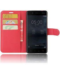 Nokia 5 Hoesje met Kaarthouder Rood