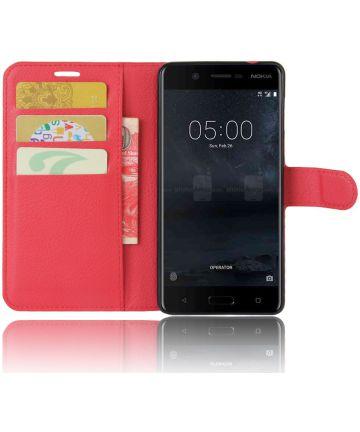 Nokia 5 Hoesje met Kaarthouder Rood Hoesjes