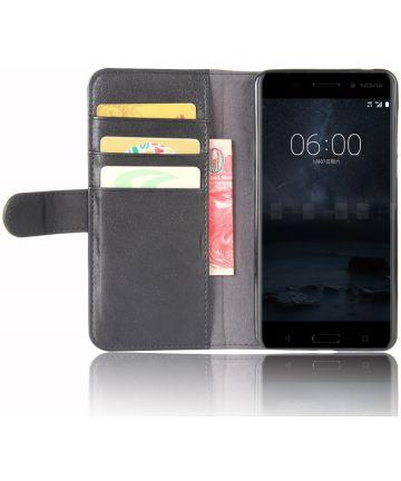 Nokia 6 Portemonnee Hoesje Kunst Leer Zwart