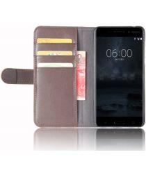 Nokia 6 Portemonnee Hoesje Kunst Leer Bruin