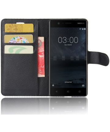 Nokia 3 Portemonnee Hoesje Zwart