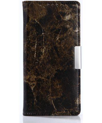 Sony Xperia XA1 Marmer Portemonnee Hoesje Zwart