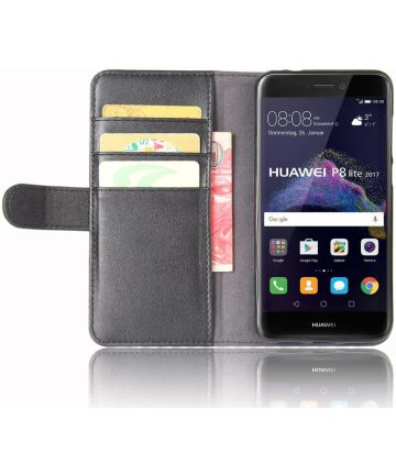 Echt Leren Huawei P8 Lite (2017) Portemonnee Hoesje Zwart