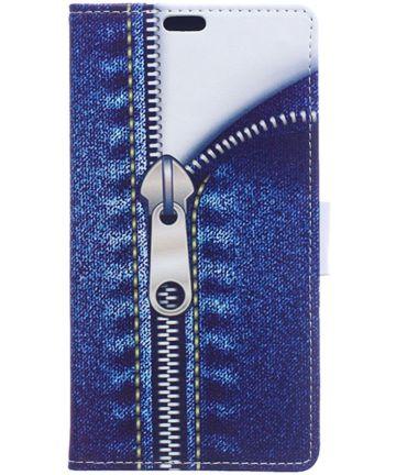 Samsung Galaxy J3 (2017) Print Portemonnee Hoesje Blauw